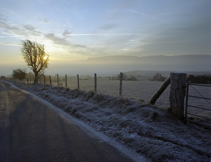 January 2006. Frosty morning on Clyro Hill.